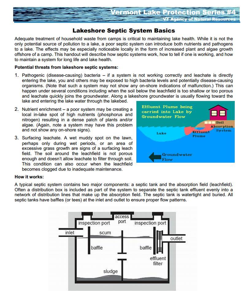 Lakeshore Septic System Basics